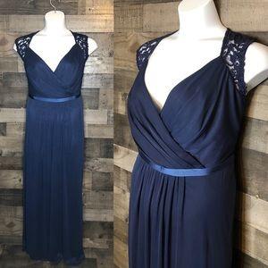 David's Bridal Marine Long Lace Dress F19505